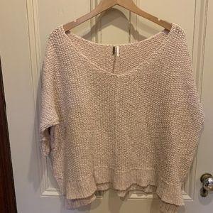 Free People Boxy Crop Dolman V-Neck Sweater Pink